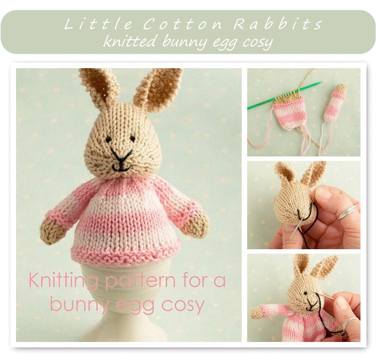 Toy knitting pattern for a bunny egg cosy Easter bunny