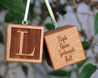 Ornament Block Baby's First Holiday Custom Block Hanging Wood Ornament for New Baby Gift for New Family Baby Boy Baby Girl Gift Celebrate