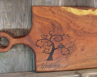 Love Birds Tree, Custom Made to Order Cutting Board, laser engraved with family name, business logo, reclaimed Texas Pecan or Mesquite