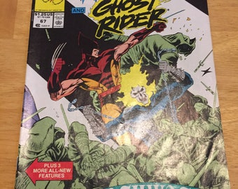 Vintage Marvel Comics Presents Wolverine #67 ft Ghost Rider (1988) Rare Vintage Comic Book