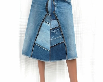 Patchwork Blue Denim - Long A-line skirt in patchwork of recycled jeans,CUSTOM MADE, long blue denim skirt,recycling,upcycling,green fashion