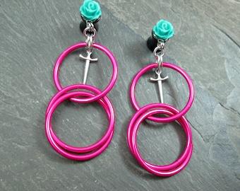 Dangle Plugs - 10g - 8g - 6g - 4g - 2g - 0g - Rose Gauges - Hot Pink Hoop Plugs - Rose and Dagger - Plug Earrings - Rose Hoop Plugs