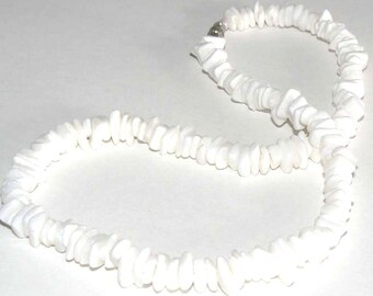 1 16inch Natural Puka Shell Chip Necklace Strand Beads White Square