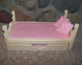 """Doll Bed & Trundle fits American Girl, Wellie Wishers 14"""" to 18"""" dolls, 6 piece set, 2 mattresses, 2 pillows, Doll Bed"""