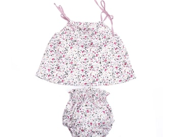 Set baby girl summer ruffle floral bloomers + blouse and hair clip