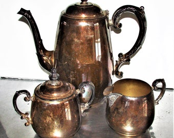 Rogers Silverplate Service Set Coffee or Tea BOHO Chic Use It Or Display It Very Cool Set