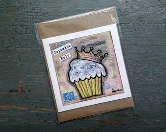 SALE! Cupcake card, Cake Art, Whimsical Cupcake, Sale Card, Clearance Card, greeting card note card, Mixed Media Art, Cupcakes Rule Card