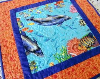 Dolphin Table Topper, Quilted Ocean Runner, Tropical Fish Quilt, Beach House décor, Coastal Nursery, Hostess Gift, OOAK Unique, Handmade