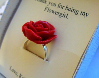 Ask Flower girl proposal ring, ask Flower girl, rose ring, rose jewelry.