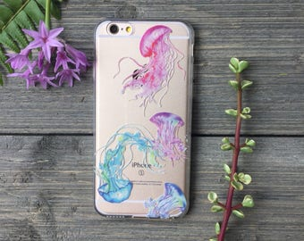 Jellyfish Watercolor Phone Case for iPhone 5, SE, 6, 6 Plus, 7, 7Plus, 8, 8 Plus and X. TPU or Wood Options