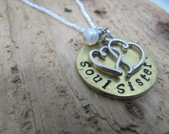 Soul Sisters necklace, hand stamped necklace,  sister gift, Best friend gift, jewelry, BFF gift,gift for friend,unbiological sister gift