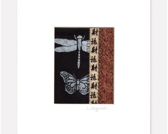 Dragonfly Butterfly Mini Textile Art Collage Asian Style fits 10x8 frame MADE TO ORDER