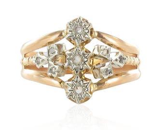 Rose gold antique ring in rose cut diamonds
