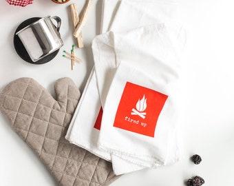 Wildlife Series - Assorted Block Design Kitchen Towels, Flour Sack Tea Towels, Foodie Gift - Set Of (4) In 5 Color Options