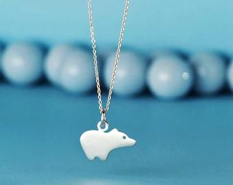 Bear Necklace Polar Bear Necklace sterling silver Bear pendant Animal charm Kid Teen Jewelry Women Gift charm Birthday gift