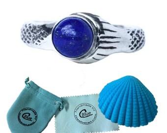 Lapis Lazuli The Real Mako Mermaid Ring Sterling Silver 925 + FREE Shell Box! size 3.5 to 11 Island of Secrets MoonPool Sirena Lyla Nixie