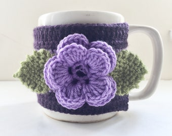 Floral Cup Cosy, Cup Sleeve, Mug Cosy, Cup Cozy, Mug Sleeve, Mug Warmer - Pure Wool - Black Cherry Delight