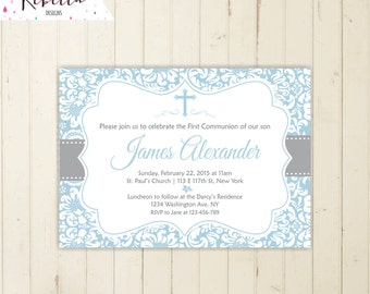 First communion invitation boy baptism invitation christening invitation boy confirmation invitation printable baptism invitation 164