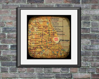 Map art print miss you chicago candy heart unframed photo print custom moving going away graduation gift dorm wall decor