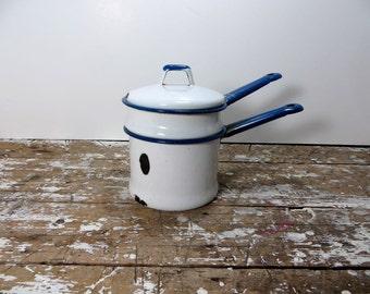 Enamelware Vintage Enamel Pot Double Pot Stovetop Pot  Pan Camping Enamel Rustic Enamel Cottage Chic Decor Blue and White