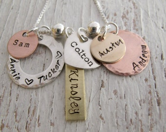 Personalized Family Jewelry, Grandmother Necklace, Mother's Day Gift, Hand Stamped, Mixed Metals, 6 names, Grandma, Nana, Mother