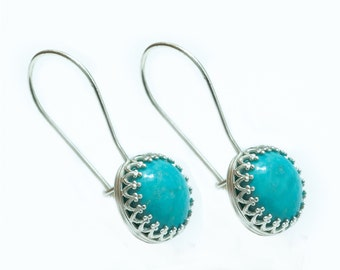Turquoise Sterling Silver Earrings, Turquoise Earrings Silver, December Birthstone Earrings, Turquoise Earrings, December Birthstone Jewelry