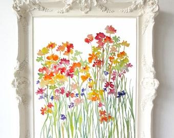 Fresh Bunch No. 2, Watercolor Flowers, Fine Art Print, Floral Wall Art