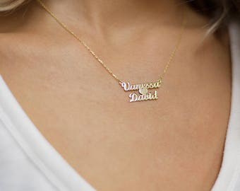 Blue Acrylic Double Name Necklace - Personalised with 2 Names! Os3Ikeph