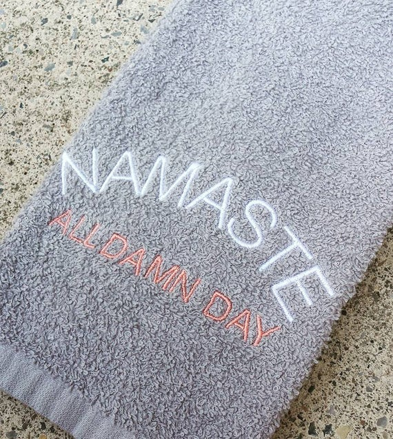 Game Day Sweat Towel: Namaste All Day Sweat Towel Gym Towel Yogi Yoga Towel