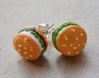 Hamburger post stud earrings miniature food jewelry
