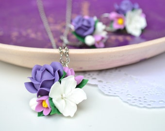 ON SALE Purple white flower earrings necklace.Polymer clay flowers. Christmas gift for her. Tender earrings
