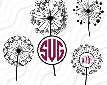 Dandelion Flower SVG, Dandelion SVG,Dandelion Monogram SVG Cut table Design,svg,dxf,png Use With Silhouette Studio & Cricut_Instant Download