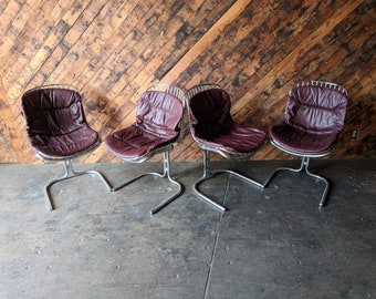 Set of 4 1970's Chrome Cantilevered Dining Chairs by Gastone Rinaldi