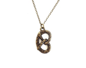 Salted Pretzel Necklace- Charm Jewelry- Minimalistic- Unique Gifts- Last Minute- Funny- Under 20 - Best Friends  - Love - Food