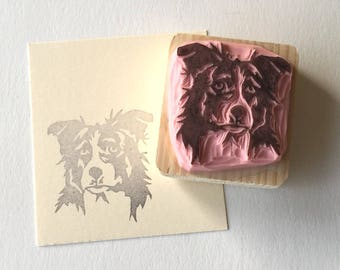 Ref 111. Border collie dog rubber stamp / Tampon de chien border collie