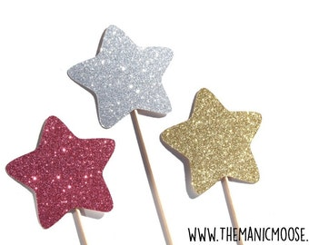 Magic Wand Photo Booth Props - Set of 3 Glitter Wands