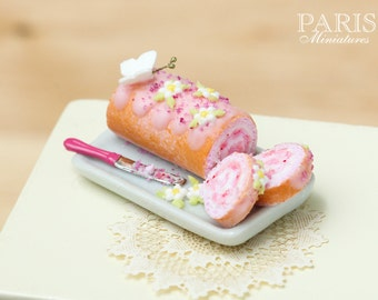 MTO -Pink Swiss Roll Decorated with Butterfly, Blossom. Cut and Served on Plate with Knife - Tiny Miniature Food in 12th Scale for Dollhouse