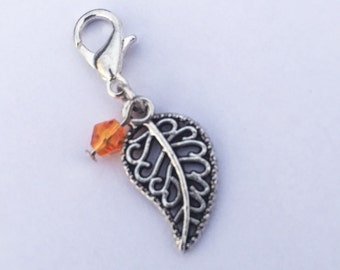 Knitting Progress Keeper - Leaf Stitch Marker - Crochet Stitch Marker - Knitting Stitch Marker - Zipper Pull - Leaf Charm - Snag Free