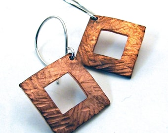 Dangly Hammered Copper Square Hoop Earrings with Hammer Texture on Sterling Silver Ear Wires - Artisan Jewelry