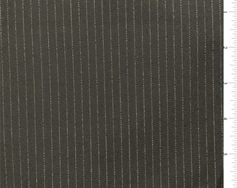 Charcoal/Gold Pinstripe Suiting, Fabric By The Yard