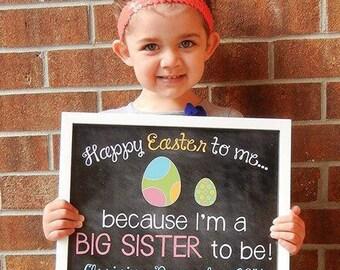 Custom Printable Easter Pregnancy Announcement // Pregnancy Reveal // Big Sister // Big Brother