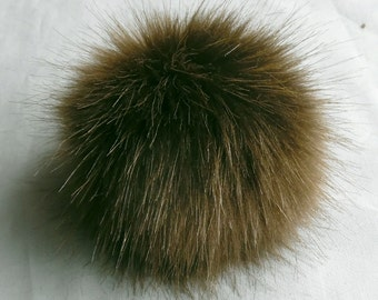 Size XS (cold brown) faux fur pom pom 4 inches/ 10cm
