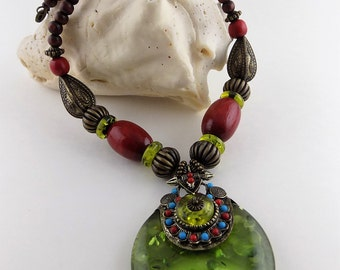Elegant Green Large Pendant/Nipali Tibetan/Kuchi Afghan Necklace/Carved Tribal Necklace/Ethnic Necklace/Red Beads/Gypsy/SN1409/FREE SHIPPING