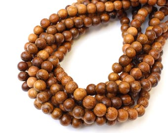 6mm Bayong Natural Wood Beads 16 inch Strand, 72 Beads for Mala Necklaces