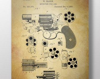 Vintage Reproduction Of A Revolver Patent