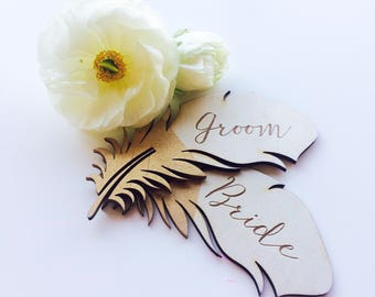 Place cards- Wood etched feather placecards. guest names - place settings - rustic - bohemian
