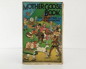 Antique Coloring Book / Frameable Nursery Decor
