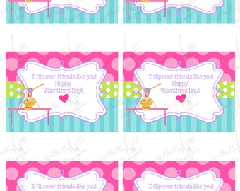 INSTANT download  Gymnastics Valentine's Day Cards- 2 JPEGS included! 12 Digital Printable Valentine's Day Cards, 6 blonde hair 6 brown hair