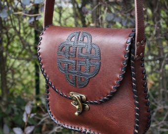 Brown leather shoulder bag. Hand laced Celtic bag. Celtic pattern bag. leather shoulder bag. interlacing Messenger bag