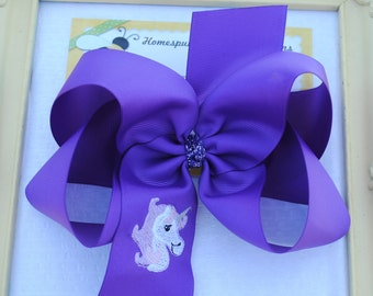 Purple 6 Inch Bows Large Hair Bows Big Sister Little Sister Unicorn Girls Hair Bows Unicorn Ponytail Bow Embroidered Unicorn Ribbon Hair Bow
